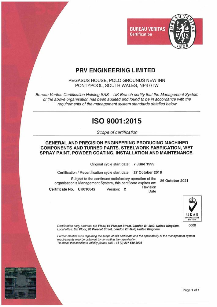 PRV Quality Certificate - click to view